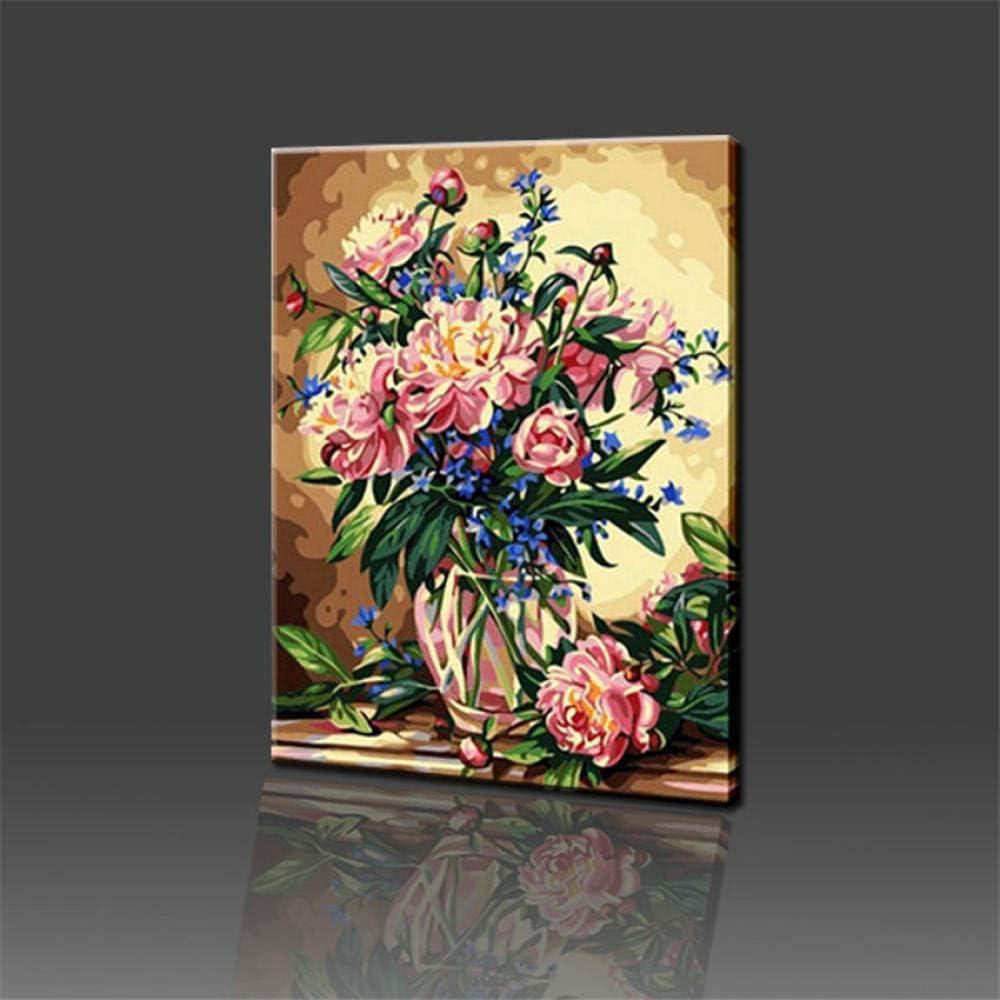 LIXIESHA Noble colorante por números Flor Pintura al óleo sobre Lienzo Pintura de la Pared Encantadora DIY Digital Pintura al óleo Cuadros Decorativos-with Frame-40x50cm