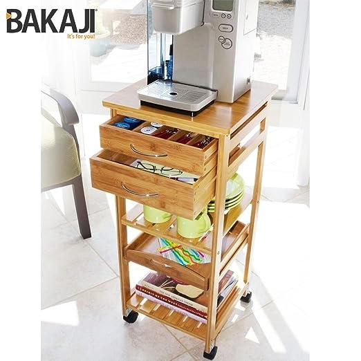 Bakaji Carrello Cucina Multiuso In Legno di Bambu 3 Ripiani con ...