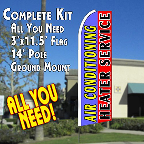 AIR CONDITIONING HEATER SERVICE (Blue/Red) Flutter Feather Banner Flag Kit (Flag, Pole, & Ground Mt)