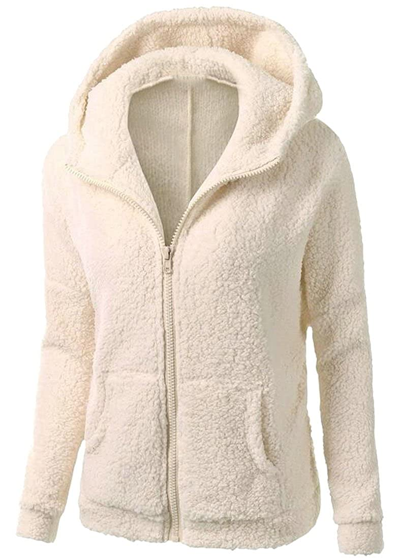 UUYUK-Women Silm Fit Hooded Zipper Sherpa Fleece Hoodie Jacket Coat