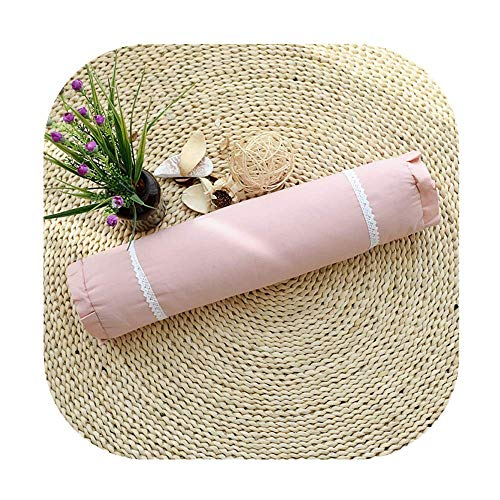 (Edomi Cervical Roll Pillow, Breathable Buckwheat Round Cylindrical Neck Pillows Lumbar Support Bolster for Relieve Spine and Neck Pain 16x4 inch Natural Buckwheat Hulls Concealed Zipper, Macaron Pink)