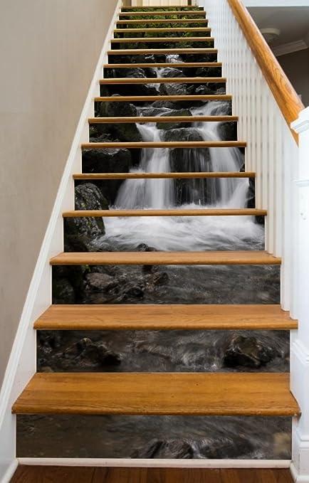 Cranky Creek 40u0026quot; X 14 Painted Stairway Decoration Adhesive Vinyl Decal  Stair Riser Panels Easy