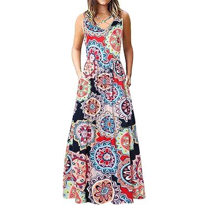 Amazon.com: Women Dresses V-neck Print Maxi Dresses Criss Cross ...