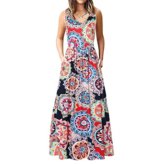 f96873a88f Dresses for Women Casual Summer Dresses Front Criss Cross Maxi Dress  Bohemian Floral Loose Long Dresses