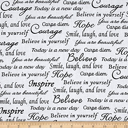Black And White Quilting Fabric - Sew Hope Full 108in Wide Hope Words Black White Fabric By The Yard