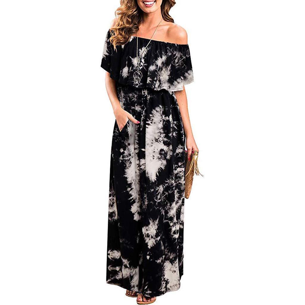 Women Dresses for Women Fghyh Womens Floral Printed V Neck Button Sundress Gown Split Flowy Boho Party Long Dress