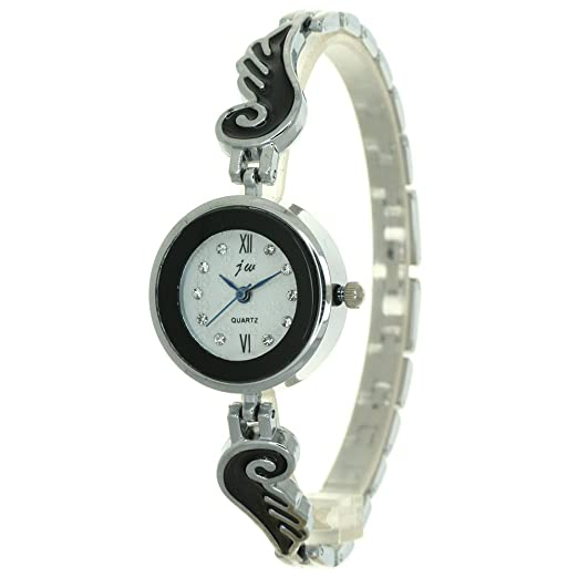 e8cfb3991 Brand Japan Quartz Rhinestone Snowflake Roman Numerial Dial Watch Women  Silver Jewelry Angel Wings Stainless Steel