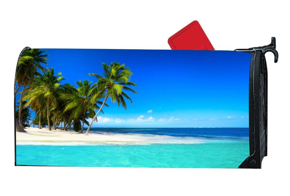DIYMBCovers Customizable Mailbox Cover Magnetic Summer Beach for Standard Metal/Steel Mailboxes - Sea Paradise Beach Palms Tropical Island