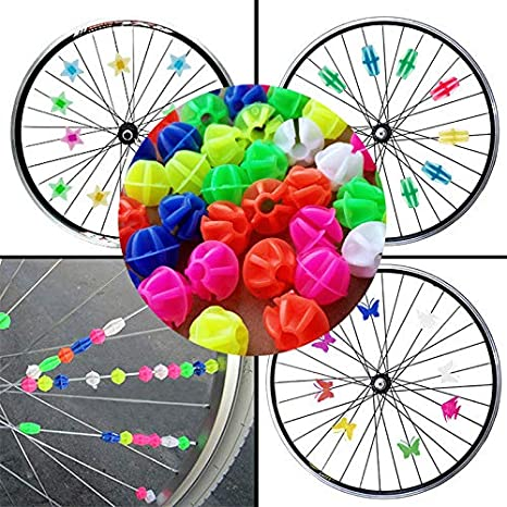 Children Kids Plastic Colored Bike Wheel Spoke Bead Wheel Clip Decoration