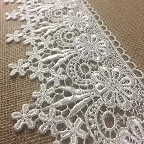 5 White Inch Trims (2 Yards, Full Flower Venise Lace Trim, for Crop Tops, Sleeves, etc. 5