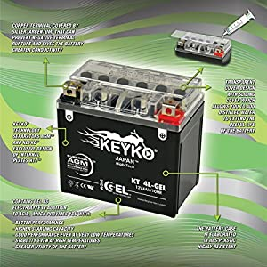 Yamaha 350CC YFM350FX Wolverine, 2006-2010 Battery YTX14-BS Maintenance Free AGM-GEL Motorcycle Extreme High Performance Battery Replacement SLA 12V 112Ah Genuine KEYKO