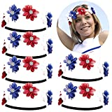 ANNTOY 6 Pack Luxurious Accessories Women's Red White Blue American Flag Patriotic Floral Flower Crown Stretch Headband