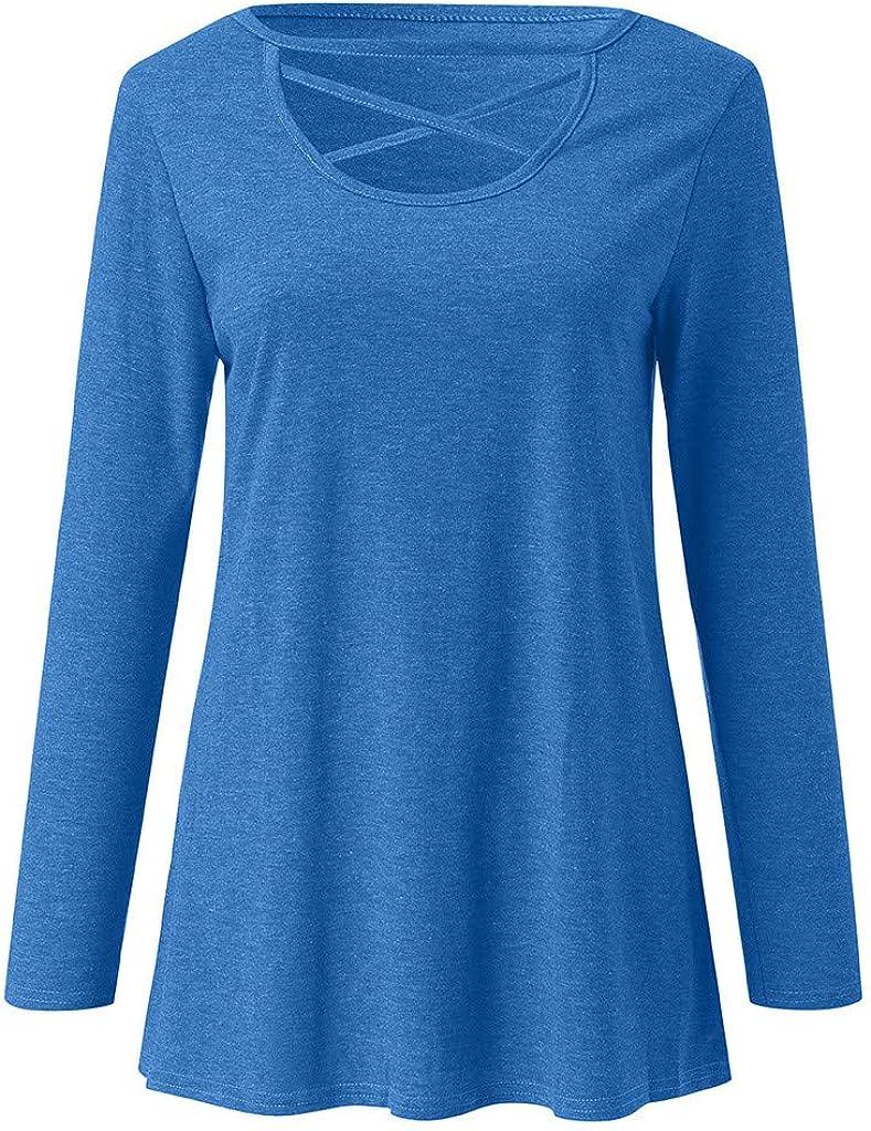 Women Girls Casual Loose Long Sleeve Criss Cross Neck Tops Tee Shirts Size