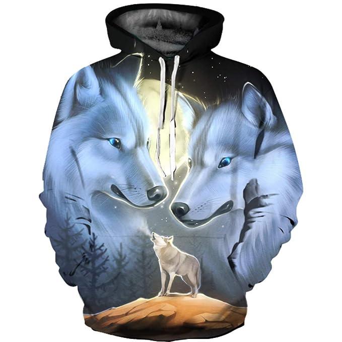11eb2b37f60b Jonyn Unisex Felpe con Cappuccio Uomo 3D Stampato Pullover Sweatshirt  Maniche Lunghe Tasche Felpa Sportive Maglione