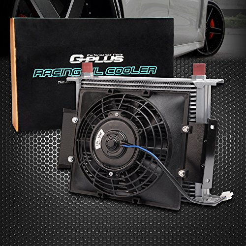 "7"" Fixed Cooling Fan + 30 Row 10AN Universal Engine Transmission Oil Cooler Kit"