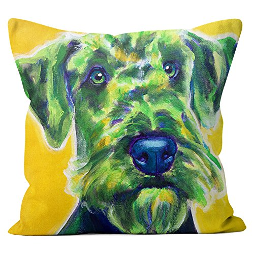 Airedale Terrier Pillow Throw Pillow Couch Cushion Decorative Accent Pillowcase Case Cover Dog Lover Gift Pet Gifts Dogs Colorful Art (18 Inch X 18 Inch With Pillow Insert)