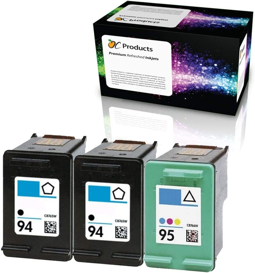 OCProducts Refilled Ink Cartridge Replacement for HP 94 and HP 95 for Officejet 150 100 H470 7410 7310 7210 Deskjet 460 PSC 1610 2355 (2 Black 1 Color)