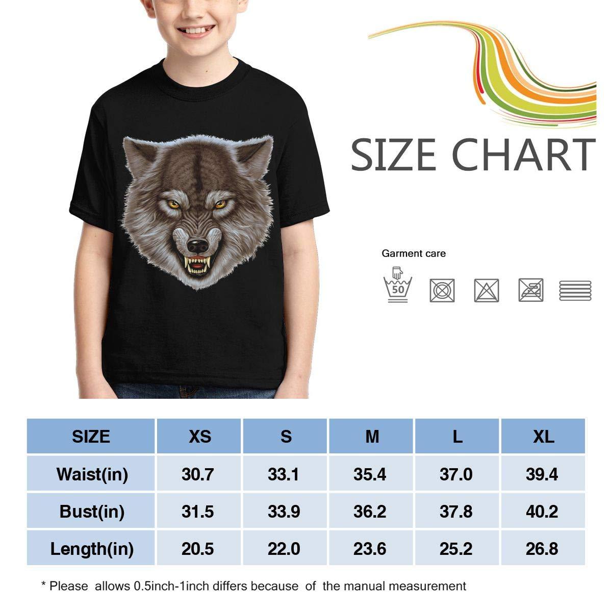 Angry Wolf Head Boys Print Graphic Tee Short Sleeve T-Shirt