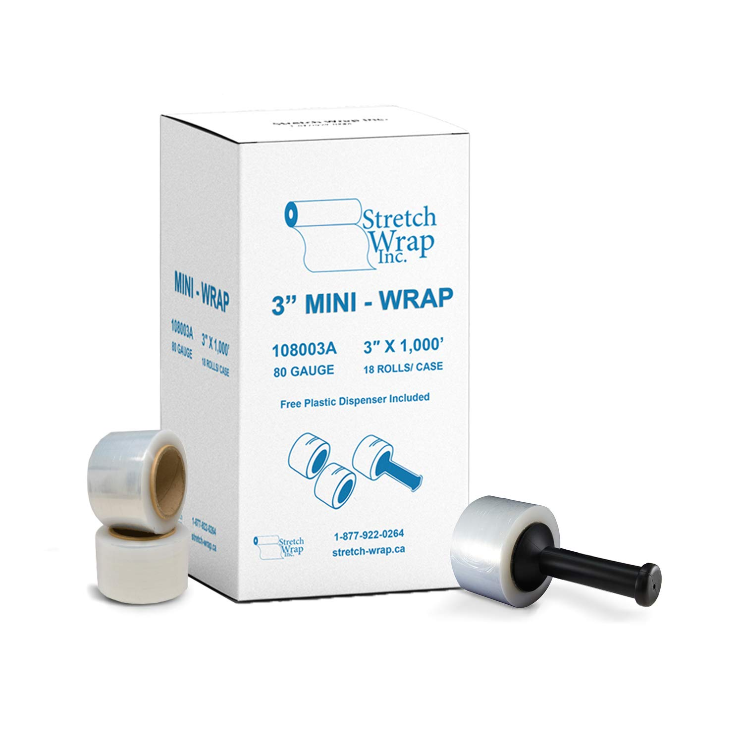 Stretch Wrap Inc Stretch Wrap Film Hand Wrap Plastic Clear with 80 Gauge 3'' Wide x 1000 feet Long (18 Rolls) Stretch Wrap Inc.