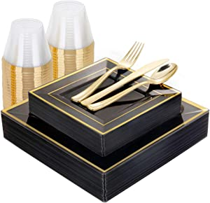 WELLIFE 150 PCS Clear Black Plastic Plates with Gold Rims, Disposable Silverware and Cups, Gold Square Plastic Dinnerware, 25 Dinner Plates, 25 Dessert Plates, 25 Cups, 25 Forks, 25 Knives, 25 Spoons