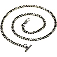 T-Bar Pocket Watch Chain - BOSHIYA Vintage Metal Alloy Watch Vest chain 60cm/23.62'' - Green Bronze