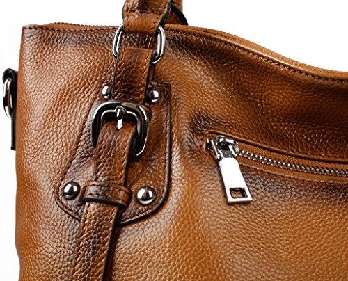 Ausverkauf-Yaluxe Damen Vintage Stil Soft echtes Leder elegant Large Schultertasche Camel