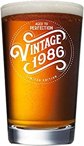 1986 34th Birthday Gifts for Men and Women Beer Glass - 16 oz Funny Vintage 34 Year Old Pint Glasses for Party Decorations - Anniversary Gift Ideas for Dad, Mom, Husband, Wife - Best Craft Beers Mug