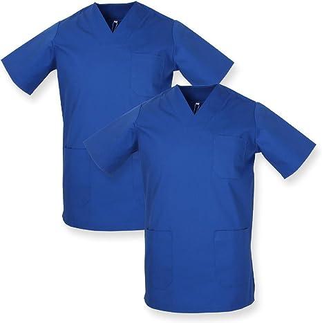 MISEMIYA - Pack*2 - Casaca Sanitarios Unisex Uniformes Sanitarios Cuello Pico Mangas Cortas Uniformes Laboratorios - Ref.817 * 2: Amazon.es: Ropa y accesorios