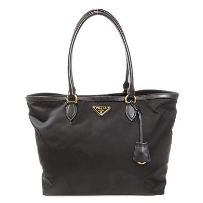 11a33c2000a2 Prada Black Tesutto Nylon w Calf Leather Trim Shopping Tote Handbag ...