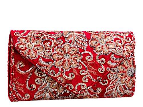 Main Pochette Sac pour Haute Fleur Paillettes Broderie Femmes Mariage Diva Rouge 'S à décoration Medium Gris lanière Neuf chaîne Ow1H6gq