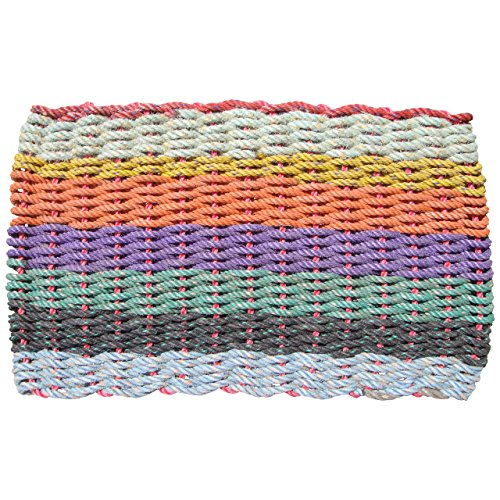 Recycled Lobster Rope Doormat, The Original Colors of Maine Lobster Rope Doormat, Handwoven in Maine, 18