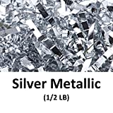 Crinkle Cut Paper Shred Filler (1/2 LB) for Gift Wrapping & Basket Filling - Silver Metallic | MagicWater Supply