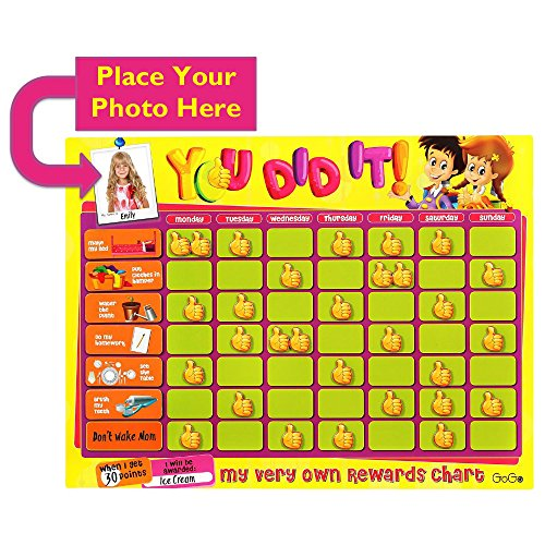 Behavior Reward Chore Chart for Kids, Toddlers. Thick Magnetic Dry Erase Board Includes Chores, Thumbs up, Personalized Picture Frame, Teaches (Motivation Charts Kids)