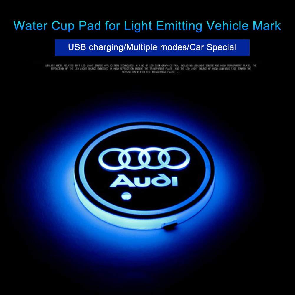 sottobicchieri Luminosi e Luminosi con Logo Impermeabili Set di 2 sottobicchieri a LED per Auto sottobicchieri Impermeabili