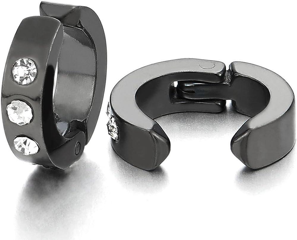 Black Huggie Hinged Hoop Earrings with Cubic Zirconia, Steel Non-Piercing Clip On Earring Men Women