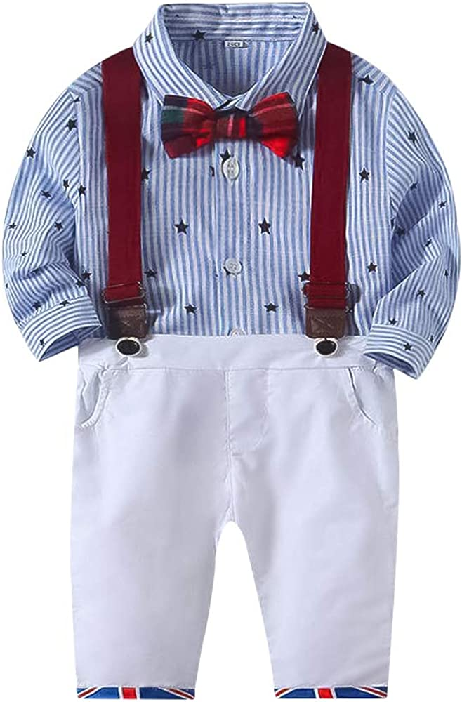 Suspender Trousers Gentleman Suits Nwada Newborn Baby Boy Clothes Toddler Boys Outfits Clothing Sets Bowtie Shirts