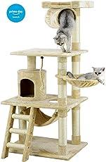 Go Pet Club Árbol para gato con mueble tipo apartamento, 157 cm, color beige