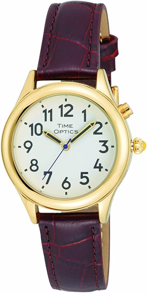 Amazon.com: TimeOptics Women's Talking Gold-Tone Alarm Leather Strap Watch:  Watches