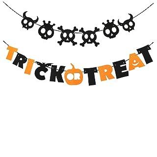 OULII Trick or Treat Bandiera Ghost Bandiera Ghirlanda appesa per la decorazione del partito di Halloween