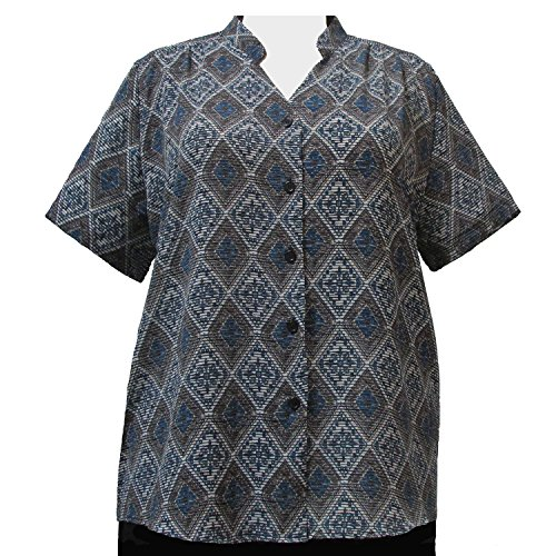 A Personal Touch Women's Plus Size Green Kilim Mandarin Collar V-Neck Blouse - 5X