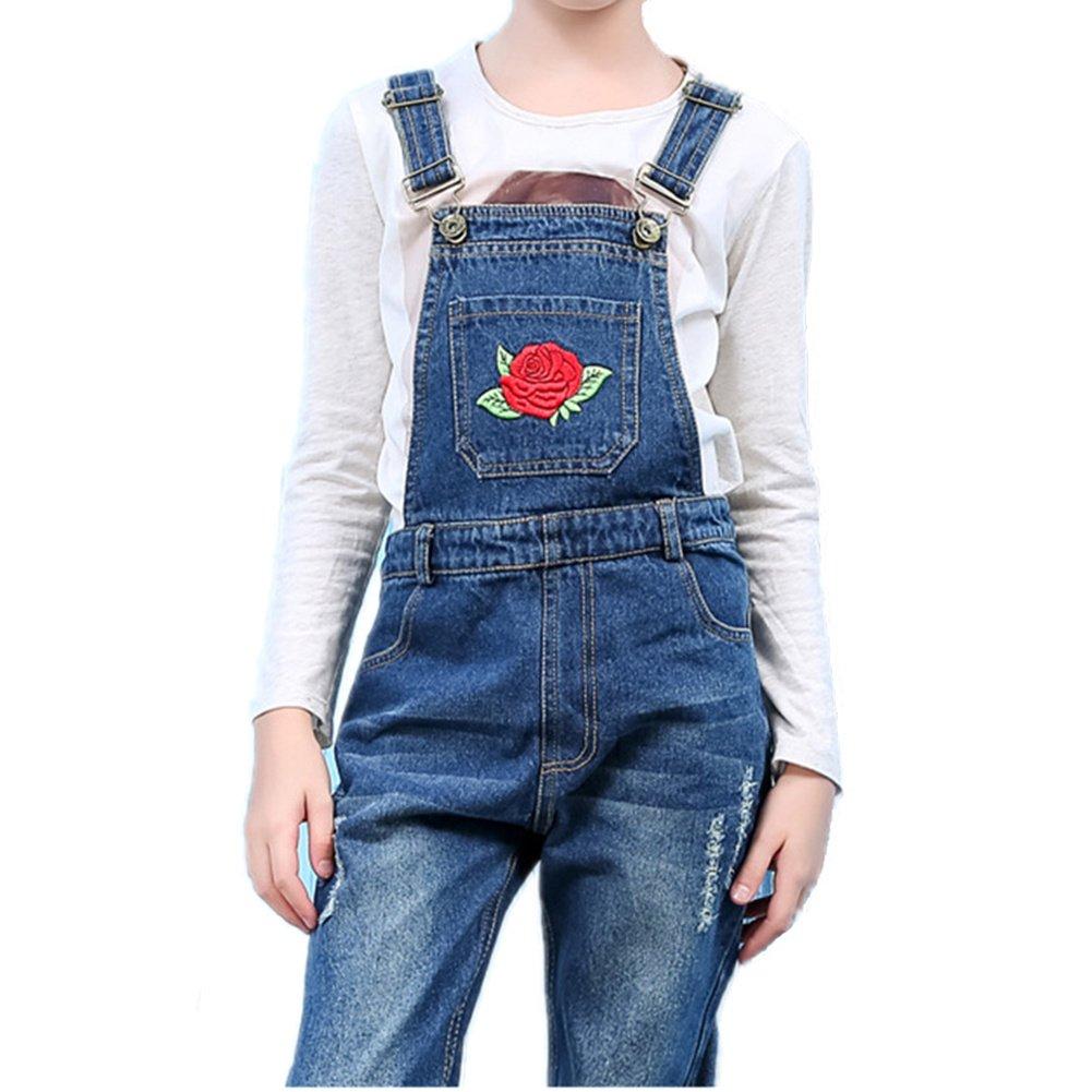 Oushiny Girls' Rose Appliqued Denim Bib Overalls for 2-12