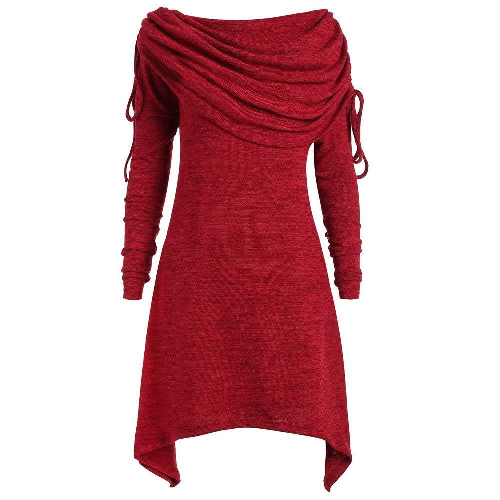 Damen Bluse Herbst Shirts Mode Übergröße Einfarbig Geraffte Lange Foldover Kragen Tunika Hemd Tops Oberteil Sweatshirt Lose Langarmshirt Tunika(S-5XL)