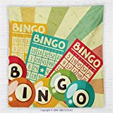 59 x 59 Inches Vintage Decor Fleece Throw Blanket Bingo Game with Ball and Cards Pop Art Stylized Lottery Hobby Celebration Theme Blanket Multi