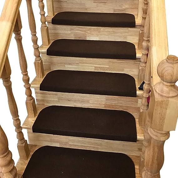 Y-Step 15 PCS Alfombrillas Antideslizantes Escalera Peldaños, Autoadhesivo, Lavable, Step Pad Pequeñas , Café, 45 x 23 cm: Amazon.es: Hogar