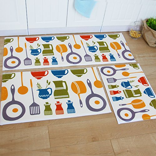 Modern Kitchen Rugs: Ustide 3-Piece Kitchen Rugs Washable Bathroom Washable