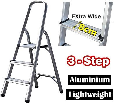 Escalera plegable de aluminio de 3 peldaños, portátil, ligera, para decoración, multiusos, antideslizante, carga máxima de 330 libras: Amazon.es: Bricolaje y herramientas