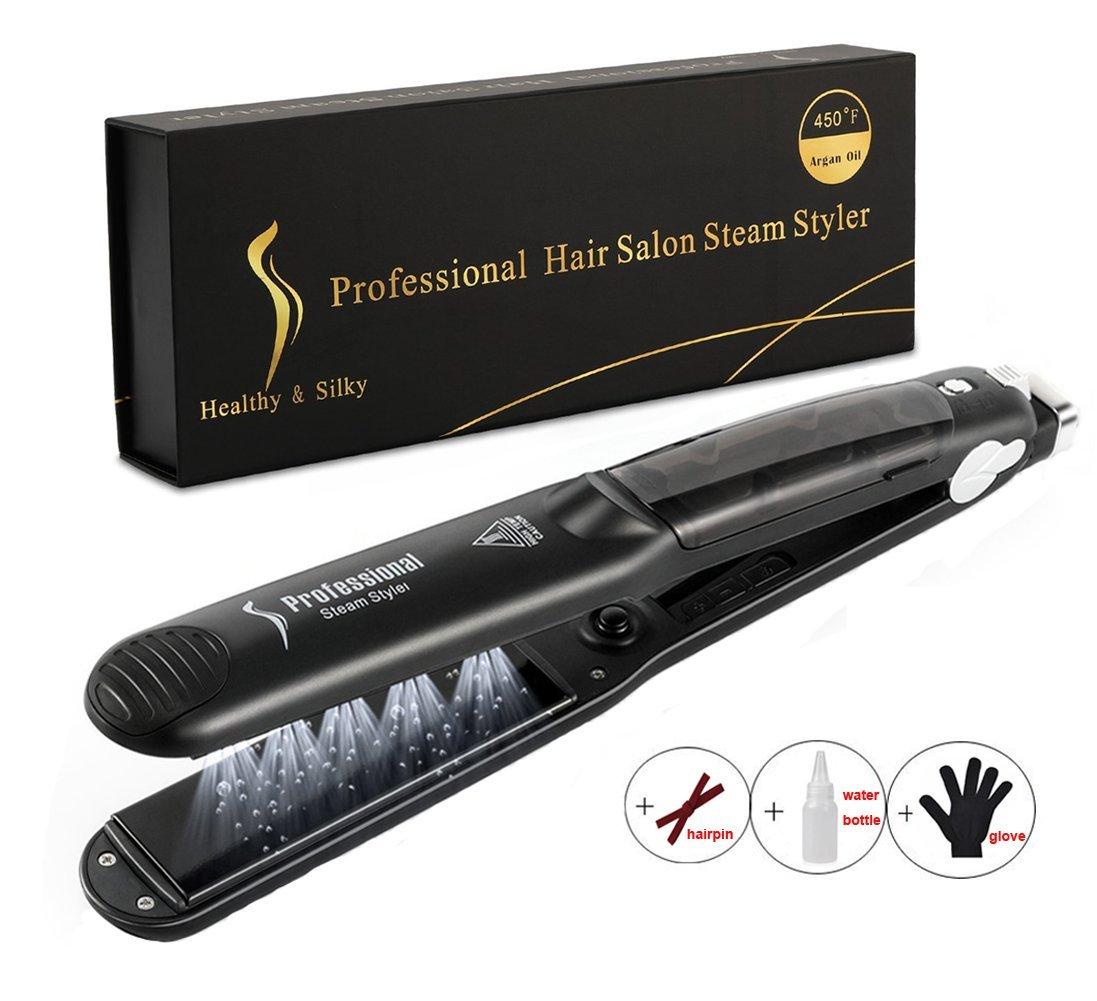 Professional Steam Hair Straightener - LONHEO 450F Multi-function Steam Styler Ceramic Tourmaline Flat Iron Salon Heater Hair Straighteners with 6 Modes For Dry & Wet Hair