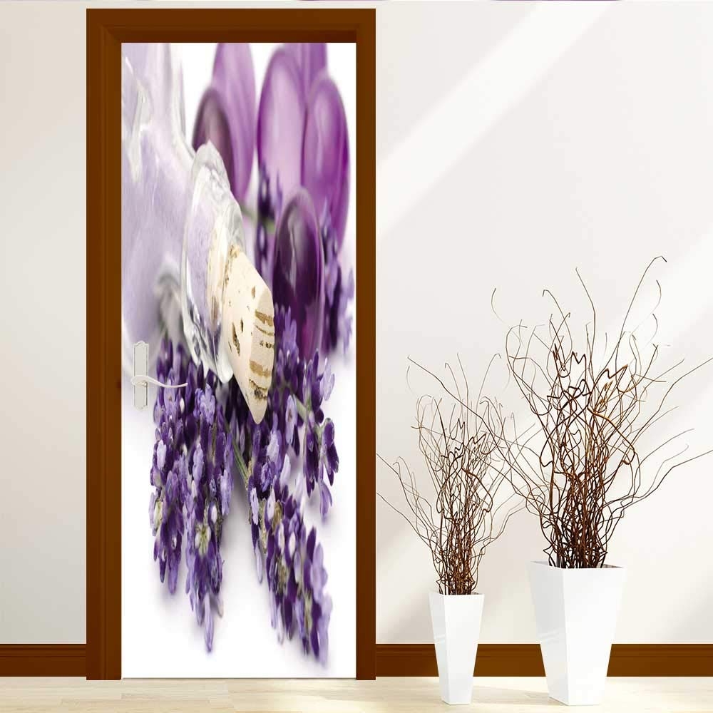 AmaPark Static Cling Glass Film Lavender spa Privacy Window Film Decorative Window Film W32 x H80
