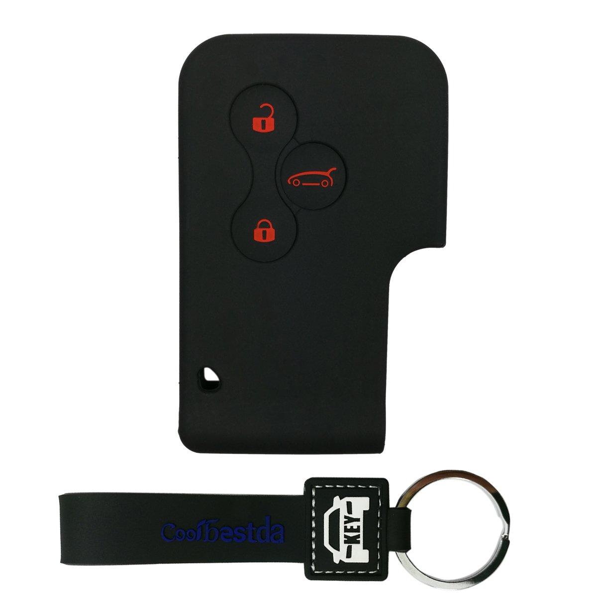 Funda de silicona de Coolbestda para llave coche Renault Megane R.S. y Scénic, 3 botones, negro: Amazon.es: Coche y moto
