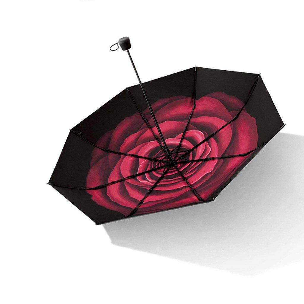 TLMY 日焼け止めの黒い傘の折り畳み傘の女性UV太陽の傘 傘 (色 : 黒) B07HKYF4FY 黒